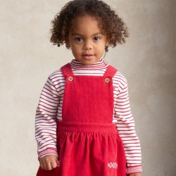 ROBE PINAFORE VELOURS ROUGE
